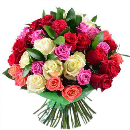 Bouquet 51 multi-colored roses