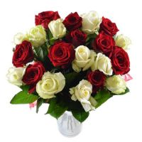 Bouquet White and red roses