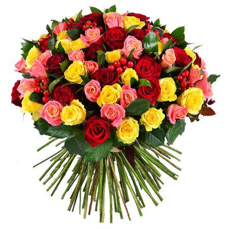Bouquet 101 multicolored roses