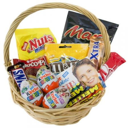 Basket for a sweet tooth, chocolate basket, gift delivery, basket of candies