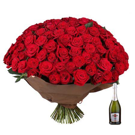 Bouquet Seduction 101 roses  + Asti Martini