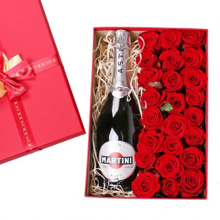 Bouquet Roses in a box with champagne