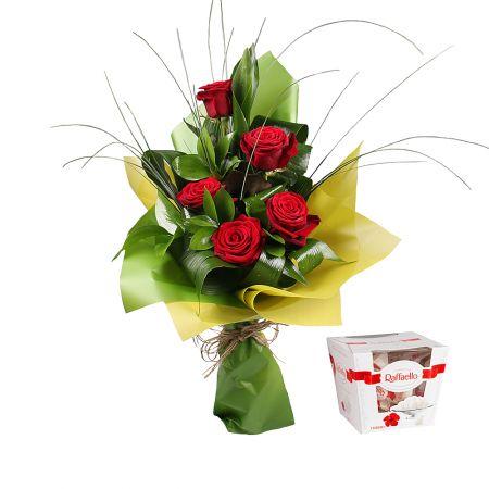 Bouquet 5 red roses + Raffaello